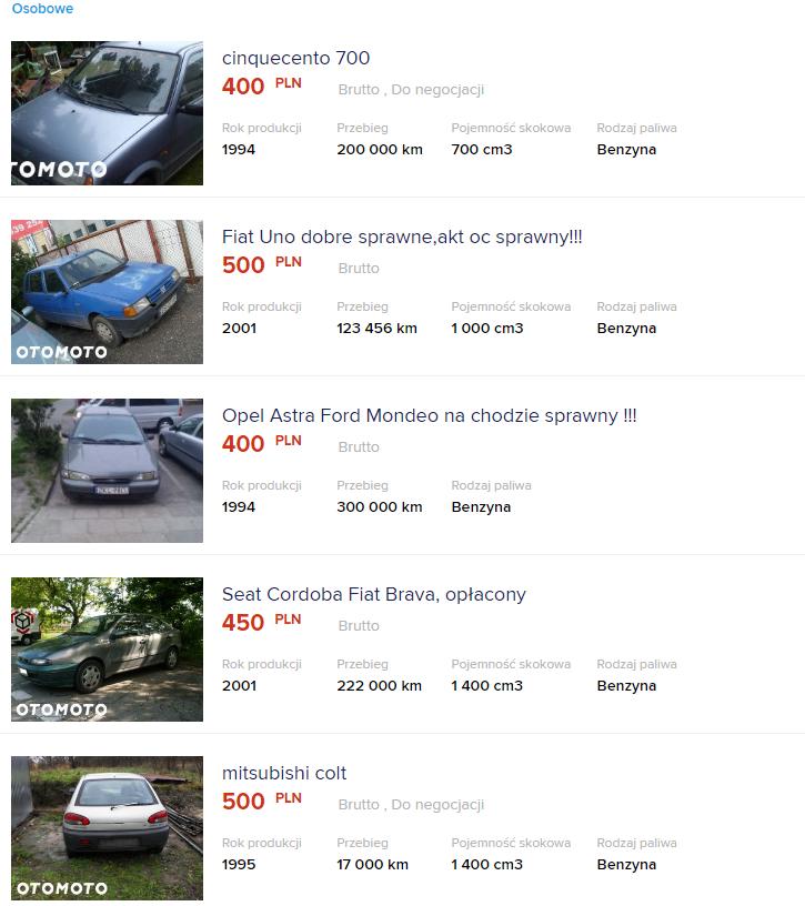 auto za 500 zł